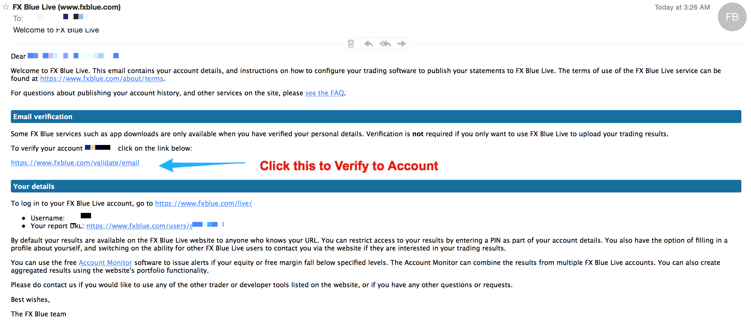 FX Blue - IMPORTANT to Verify Your Email Address